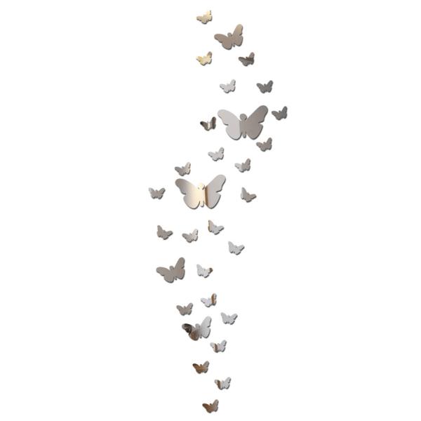 Butterfly DIY 3D Art Akryl Spegel Väggdekor Heminredning Sliver