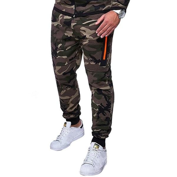 Mode herr Camouflage Joggerbyxor Slim Ljus grey L