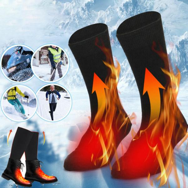 Uppvärmda varmare stövlar Långa strumpor Fot Vinter Värmestrumpor Black frame 1