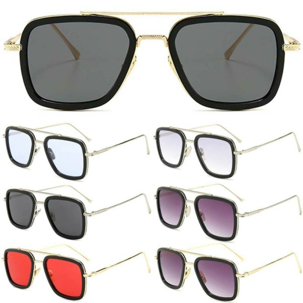 Marvel Avengers Iron Man Square Metal Solglasögon Glasögon Silver Frame Blue Lenses 1pair