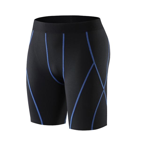 Män baslager träning kort byxa löpning sport basket tätt Blue Line M
