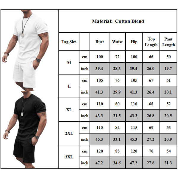 Herr Crew Neck kortärmad T-shirt Tops Shorts Set Fitness Sport Black M