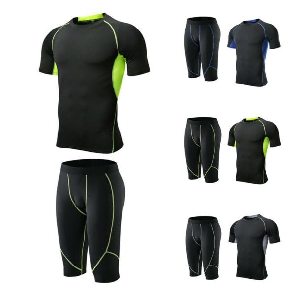 Herr Fitness Kortärmad Snabbtorkande sportkläder Gym T-shirtshorts Black+Blue XL