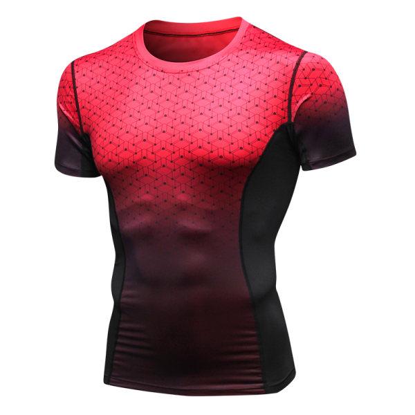Män kortärmad sport gym T-shirt toppar träning avslappnad sommar Red L