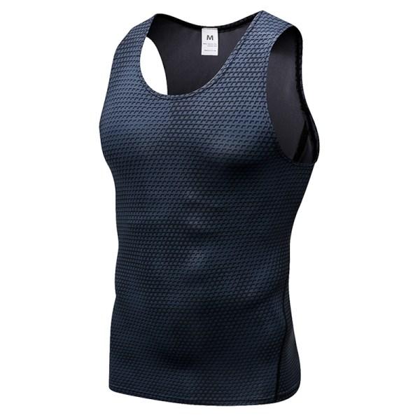 Ärmlös T-shirt herrtröjor för män Sport Gym Workout Casual Tees Black XXL