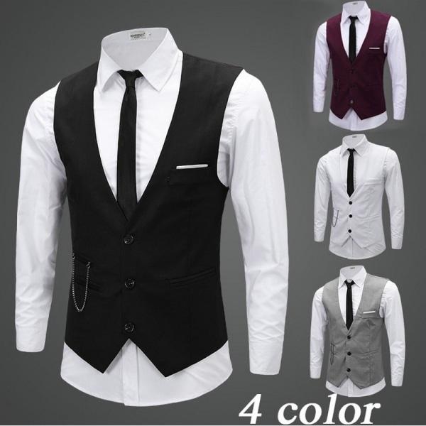 Herr Slim Fit klänning västar kostymrockar wine red L