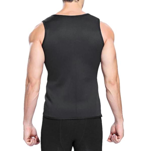 Mäns Slim Fit ärmlös svettväst Sport Gym Fitness T-shirt L