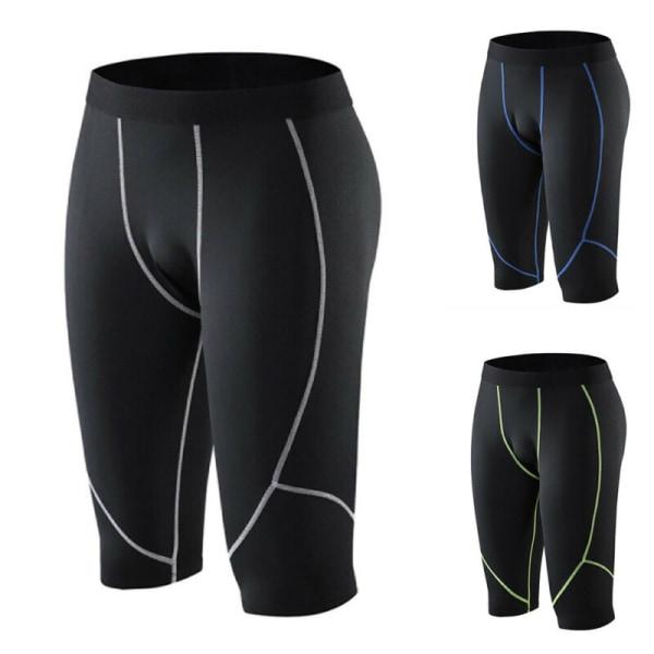 Mens Byxor Sport Träningsträning Kompression Shorts Byxor Green Line 3XL