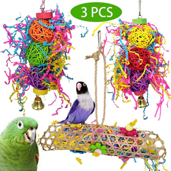 Nya 3 Parrot Bird Cage Haging Strip Woven Toys