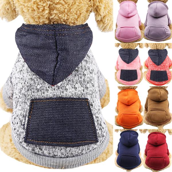 Pet Hund Cat Winter Warm Hooded Coat Puppy Sweatshirt Kläder coffee XS