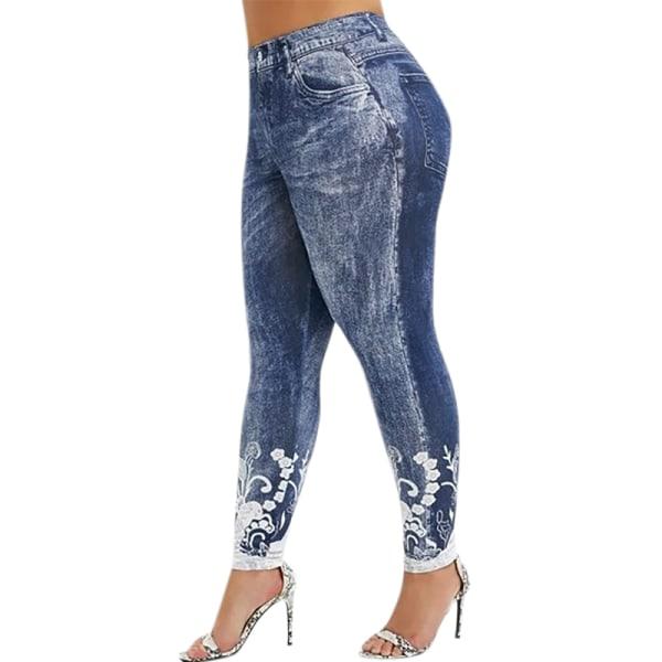 Plus Size Dam Sport Fitness Byxor Print Yoga Byxor Leggings grey&blue 5XL