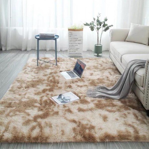 Washable Soft Anti-Skid Rug Faux Fur Carpet Fluffy Room Mat New khaki 50*80cm