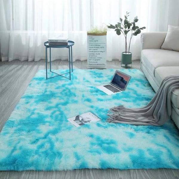 Tvättbar mjuk anti-slip matta Fuskpälsmatta fluffig rumsmatta Ny sky blue 50*200cm