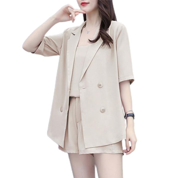 Kvinnorsats 3-delad halvärmad Cami Blazers Jacket Outfit Suits Apricot White L