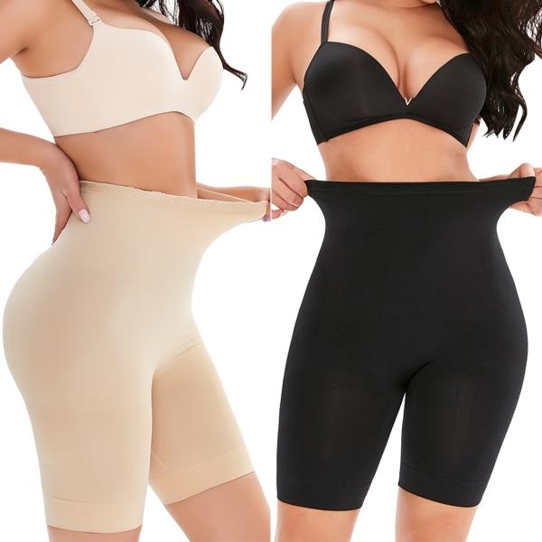 Kvinnor mage fettförbrännande trosor Elastisk midja träningskläder apricot L