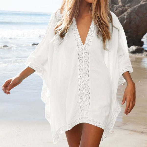 Kvinnor Beach Mini Dress Spets Bat Sleeve Bluse white