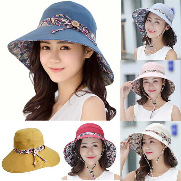 Dam Bucket Hat Wide Brim Holiday Foldable Sun Protection Cap light grey