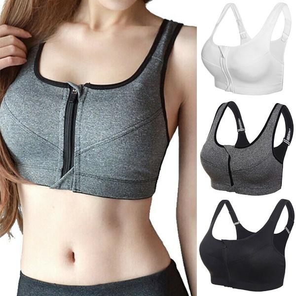 Kvinnors främre dragkedja sport-BH Push-up vadderad väst Yoga jogging topp White 2XL
