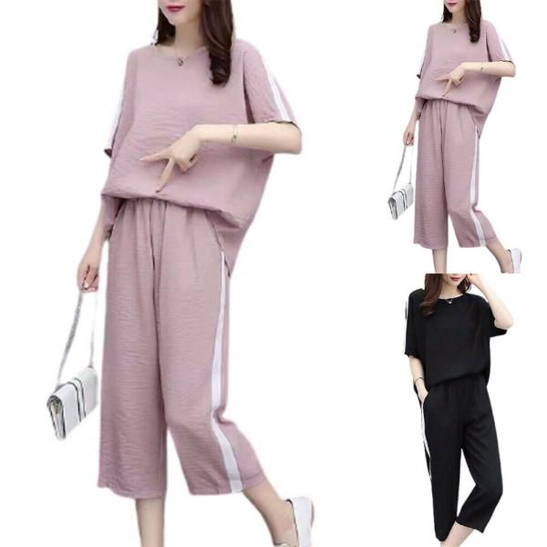 Kvinnors halvärmad t-shirt + Capri byxa sommar plus storlek Pink 4XL