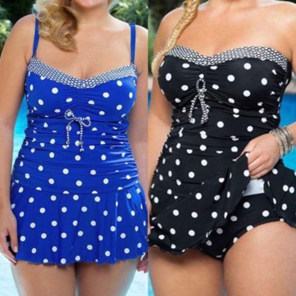 Kvinnors vadderade bikinisett badkläder baddräkt badklänning black 5XL