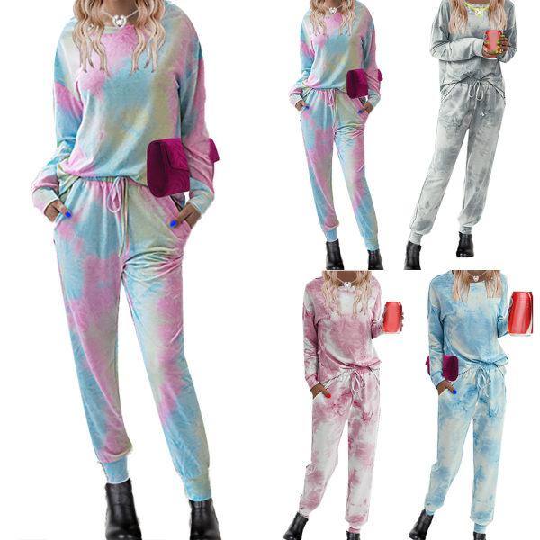 Dam Pyjamas Set Långärmad Fritid Nattkläder Loungewear Blue XL