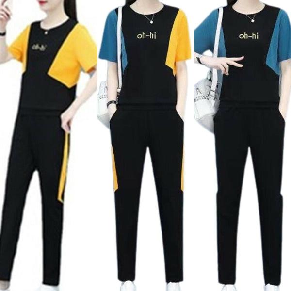 Kvinnor kortärmad T-shirt Byxor Lounge Wear Casual Outfit Set Blue M