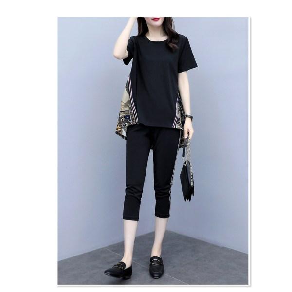 Kvinnor kortärmad t-shirt toppbyxor sommar casual outfit set Black M