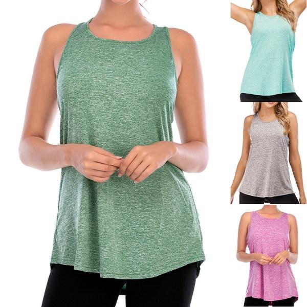 Kvinnor ärmlös väst Yoga Sports Gym Top Casual Loose Shirt Tee Black XL