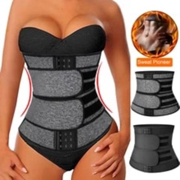 Kvinnors midja tränare Body Shapewear Double Belt Sports Corset black L