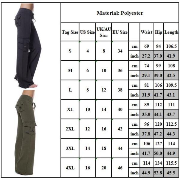 Cargo Byxor för kvinnor Loose Casual Sports Wide Leg Work Pants green L
