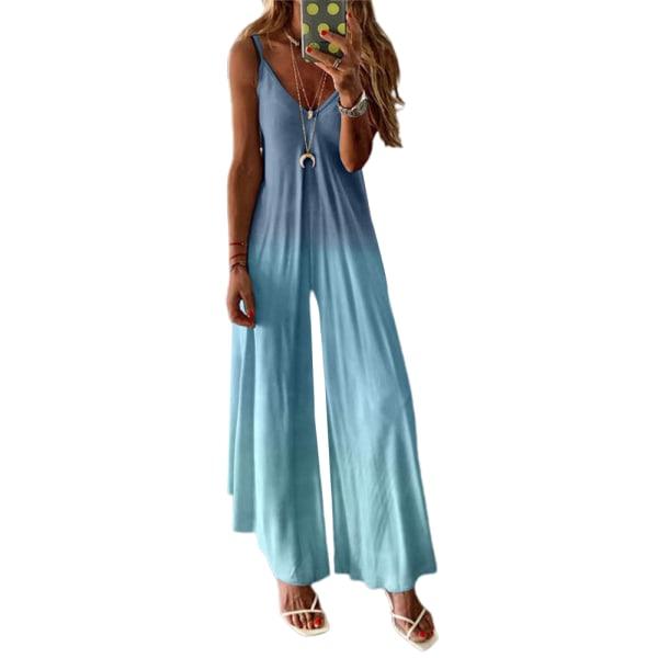 Dam Gradient Sling Jumpsuit Casual Summer Wide Leg Playsuit Blue 2XL