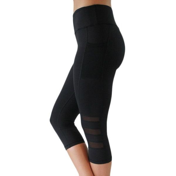 Womens Mesh Workout Sports Gym Comfy Yoga Leggings 3/4 Byxor black XL
