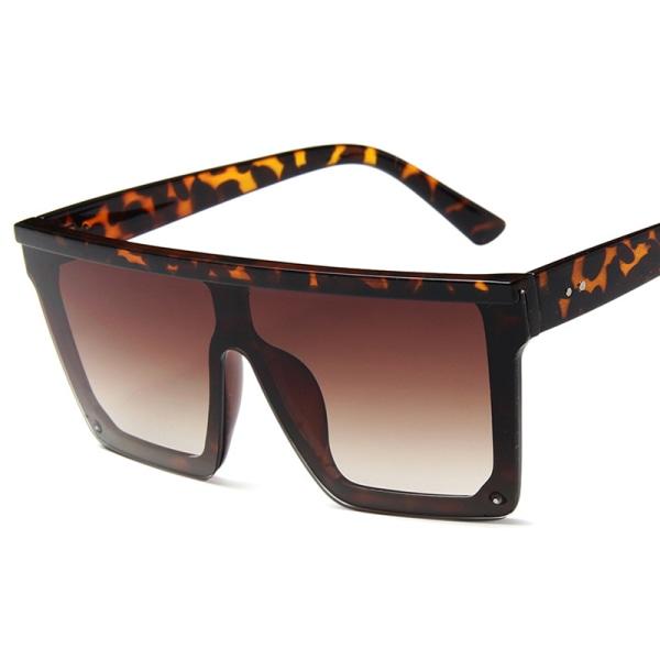 Kvinnor Solglasögon Black Leopard Oversized Square Luxury Flat Top Leopard 1pair