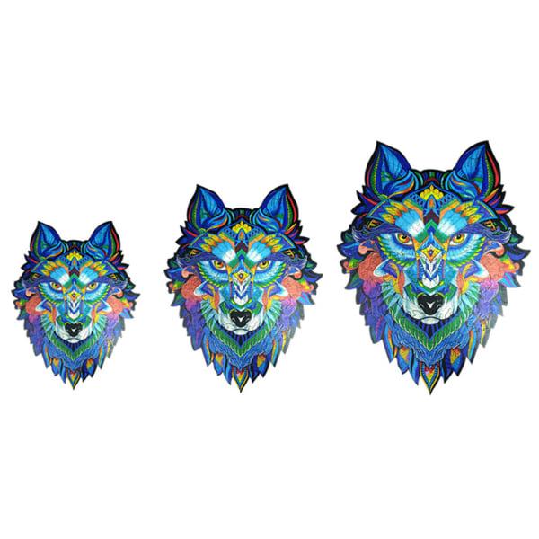 Träpussel Magic Wolf Unik form Idealiska gåvor A3