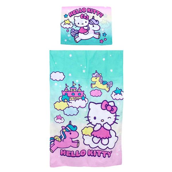 Hello Kitty Bäddset För Små Sängar - 90 x 140 cm Påslakan och Ör multifärg