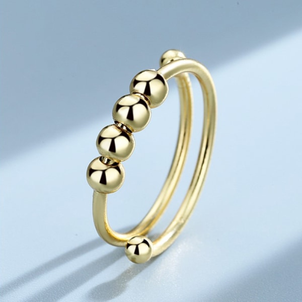 Single Coil Spiral Ring Pärlor Anti Stress Ring Toy For Girl Silver