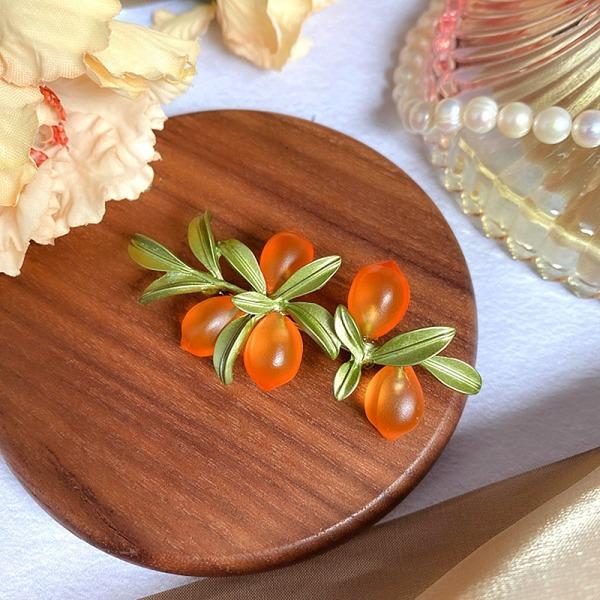 1 st retro konst frukt glaserad orange blad brosch för kvinnor overco one size