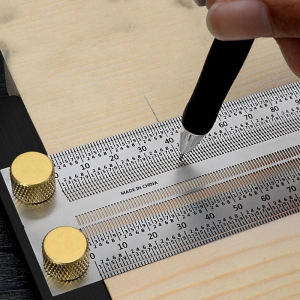 1 st hög precision t typ fyrkant linjal träbearbetning aluminium allo 300mm