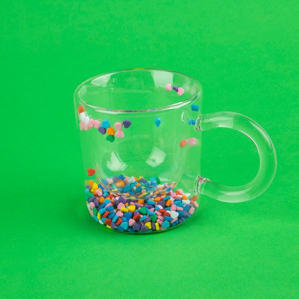 Girl Heart Cup Dubbelvägg Glass Cup Handtag Värmebeständig mjölk OneSize