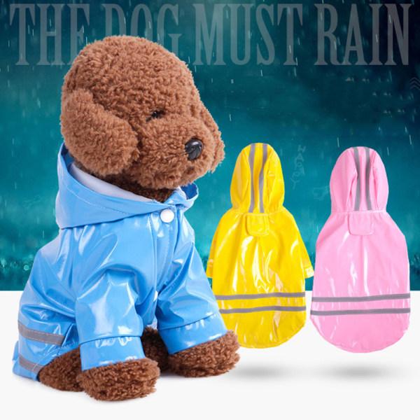 Husdjur Hundkläder Hooded Raincoat Reflekterande Strip Dogs Rain Coa Yellow M