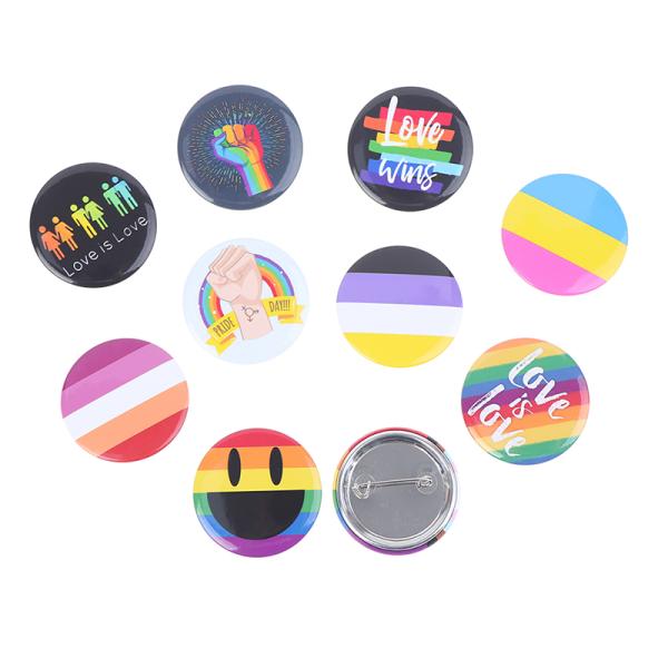 HBT Design Rainbow Creative Heart Yeh Finger Pin Brosch Metal 2