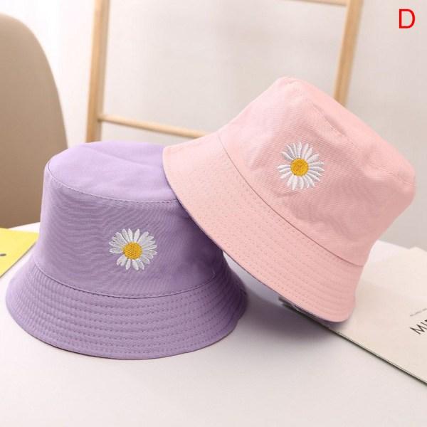 barn daisy broderi dubbelsidig utomhus hink hatt sommar