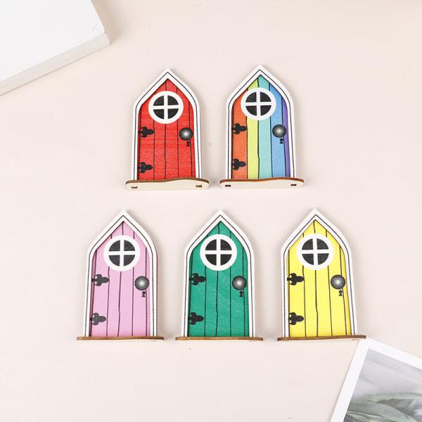 1 st Miniatyr Fairy Window Door Elf Home Creative Yard Art Gar Pink