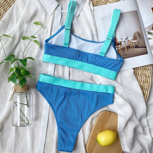 hög midja bikini baddräkter kvinnor badkläder Blue L