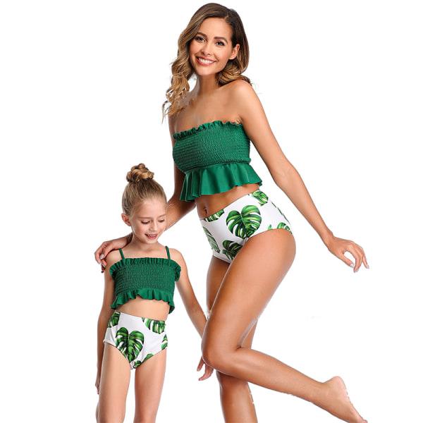 smockade blå löv tryck bikini uppsättningar kvinnor volang hög midja ta A4