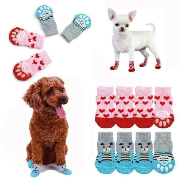 2 par / set Pet Dog Cat Anti Slip Stickad Strumpor Winter Paw Protector