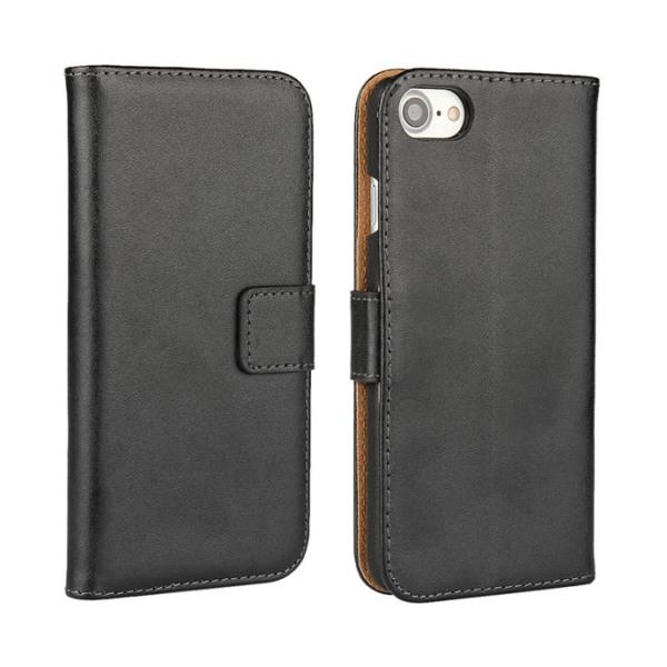 Plånboksfodral Äkta Skinn iPhone 7 - fler färger Svart