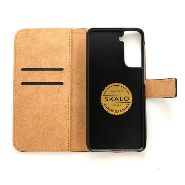 Plånboksfodral Äkta Skinn Samsung S21 - fler färger Svart