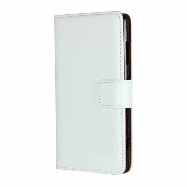 Plånboksfodral Äkta Skinn Huawei Honor 8 Lite - fler färger Vit