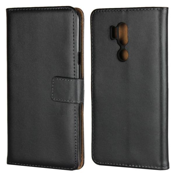 Plånboksfodral Äkta Skinn LG G7 ThinQ - fler färger Svart
